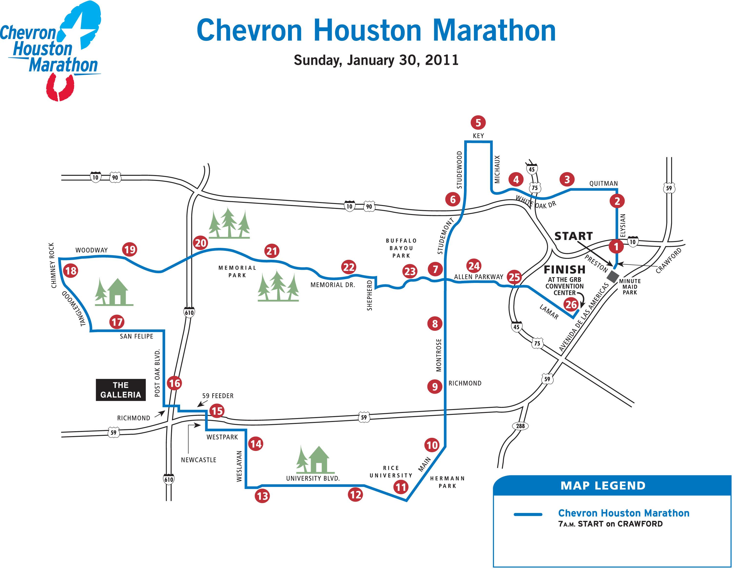 Map Houston Marathon Course